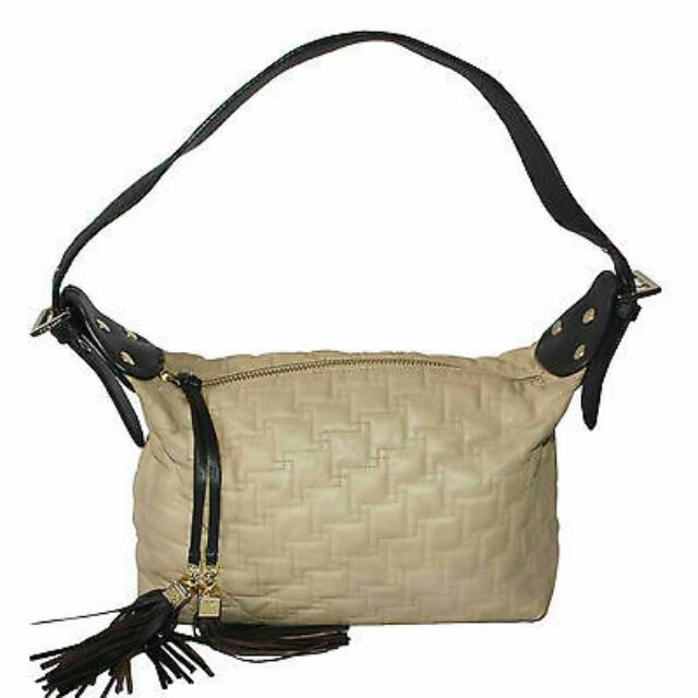 ANNE KLEIN BIEGE QUILTED LEATHER HOBO BAG - FINAL SALE