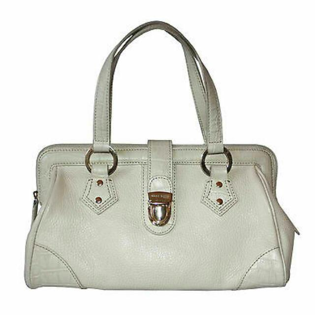 ANNE KLEIN IVORY PEBBLED LEATHER DOCTOR'S BAG