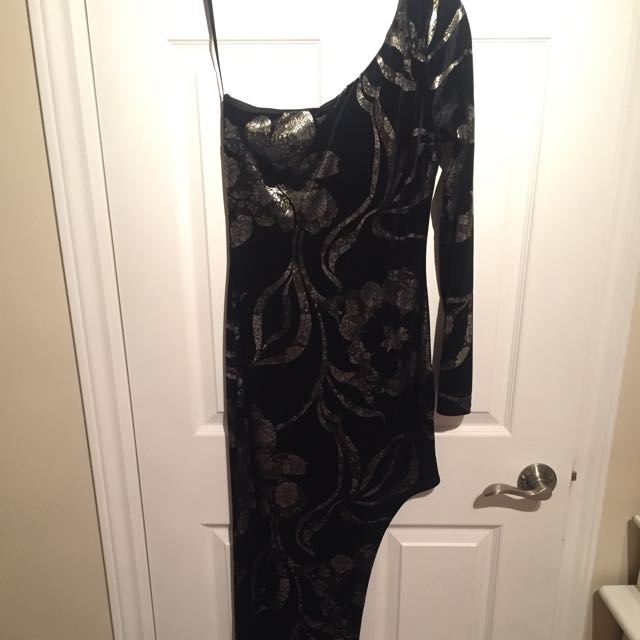 Asymmetrical Velour Evening Dress