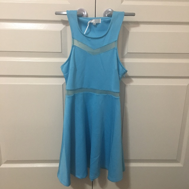 Blue Mesh Panels Dress
