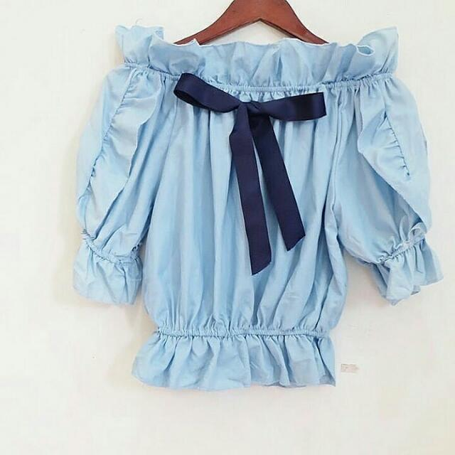 Blue Sabrina Ribbon Top