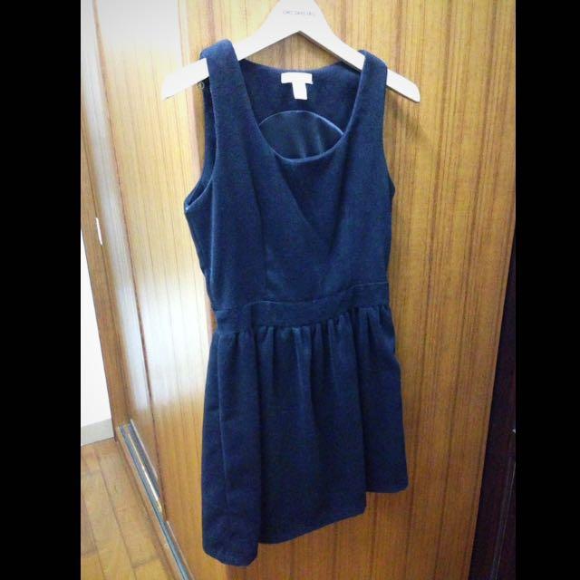 FIFTY PERCENT黑色麂皮絨毛洋裝