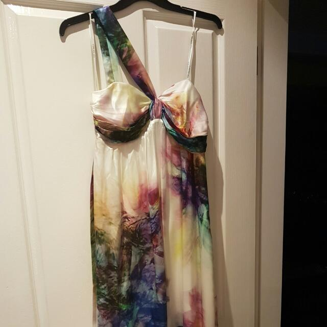 Forever New Printed Silk Maxi Dress Size 14