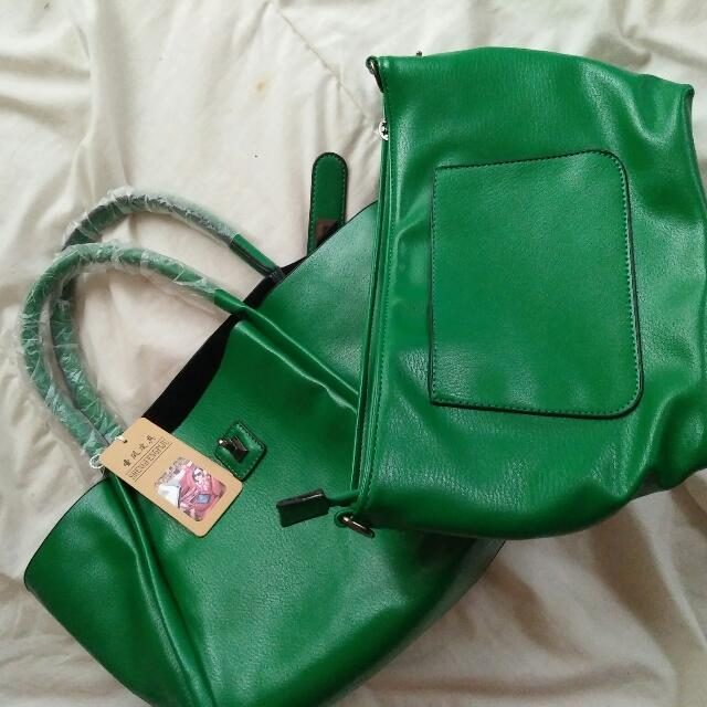 GREEN 2 WAY HAND BAG