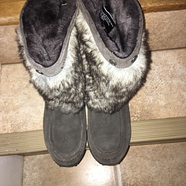 Grey Furry Boots