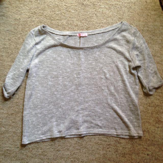 Grey Knit Baggy Off Shoulder Top