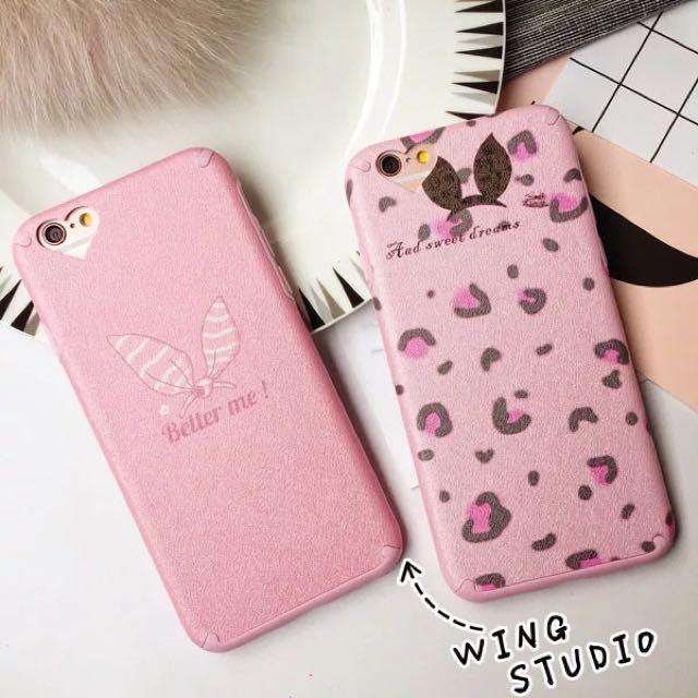 粉色豹紋兔耳iPhone6手機殼蠶絲紋蘋果6plus保護套全包6s磨砂軟殼
