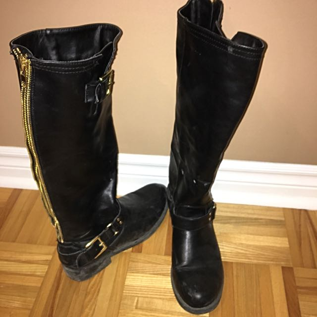 Justfab Black Leather Boots