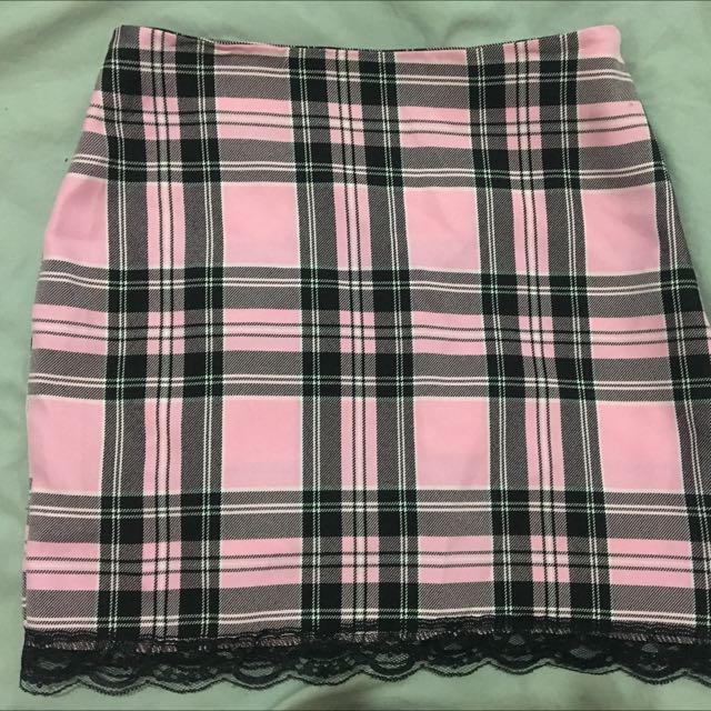 Kawaii Tartan Skirt Clueless Pink