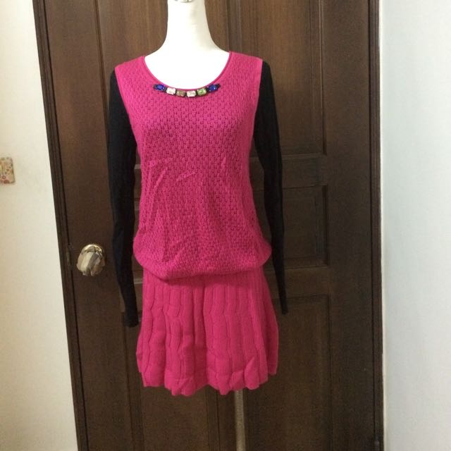 LaLa假兩件桃紅小洋裝