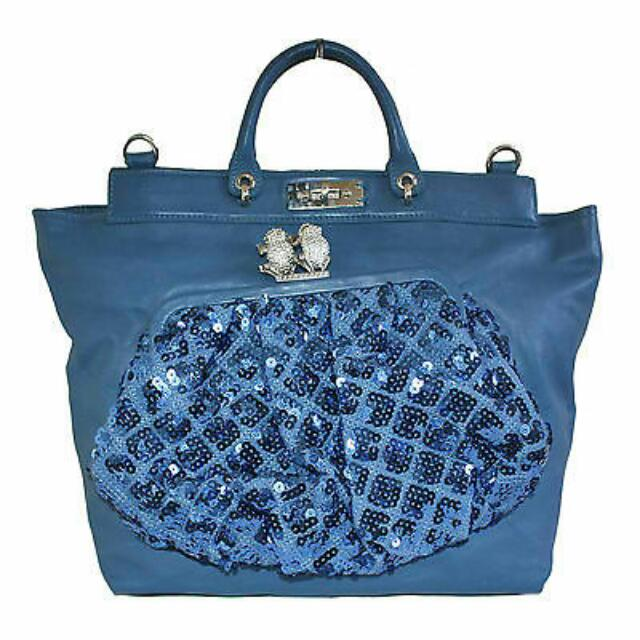 "MARC JACOBS BLUE SEQUINED ""DUFFY"" FROG LEATHER HAND BAG"