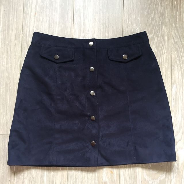 Navy Faux Suade Skirt