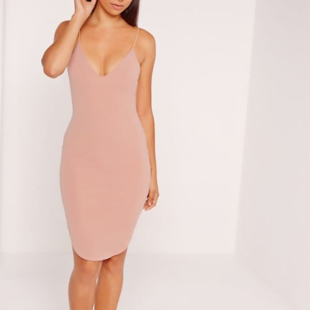 Missguided NUDE STRAPPY MIDI DRESS