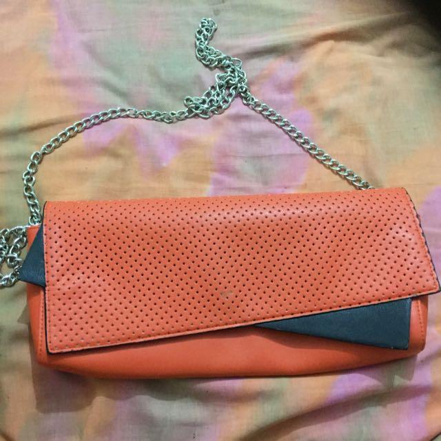 Orange Bag With Chain