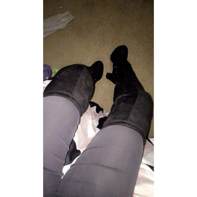 Over The Knee Velvet Boots