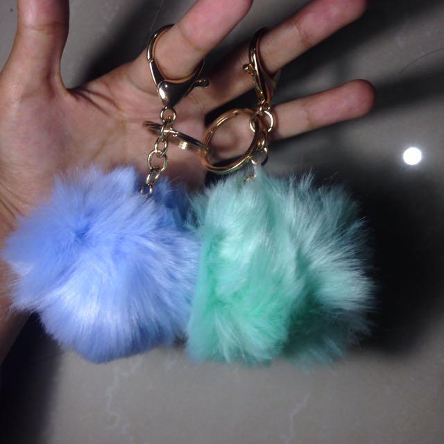 PomPom Key Chain Tosca & Blue