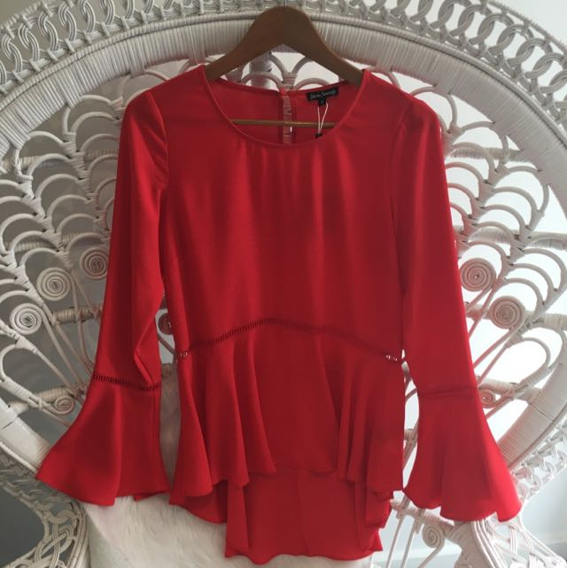 Red Bell Sleeve Top Size 8