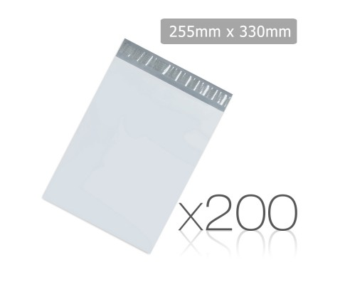 Set of 200 Poly Mailer Bags - 225 x 330mm