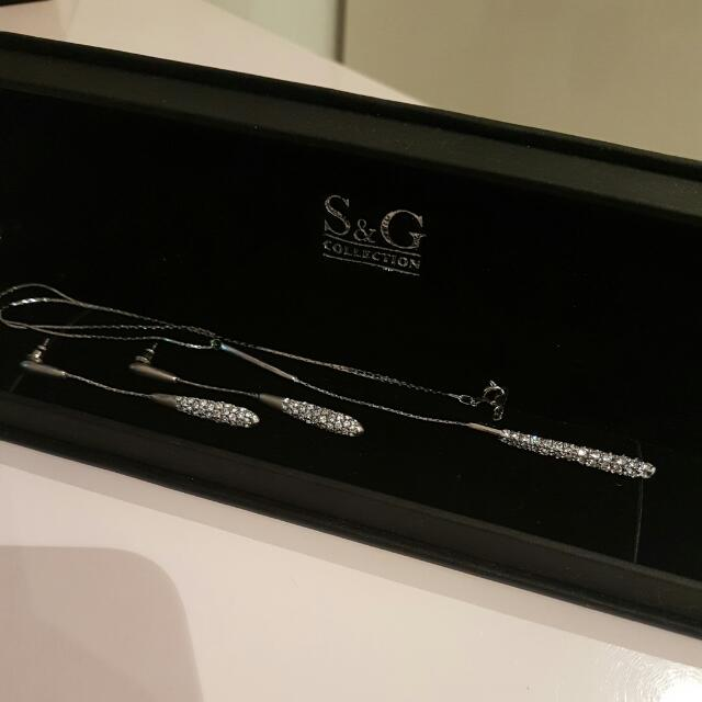 Silver Drop Necklace And Earrings Set