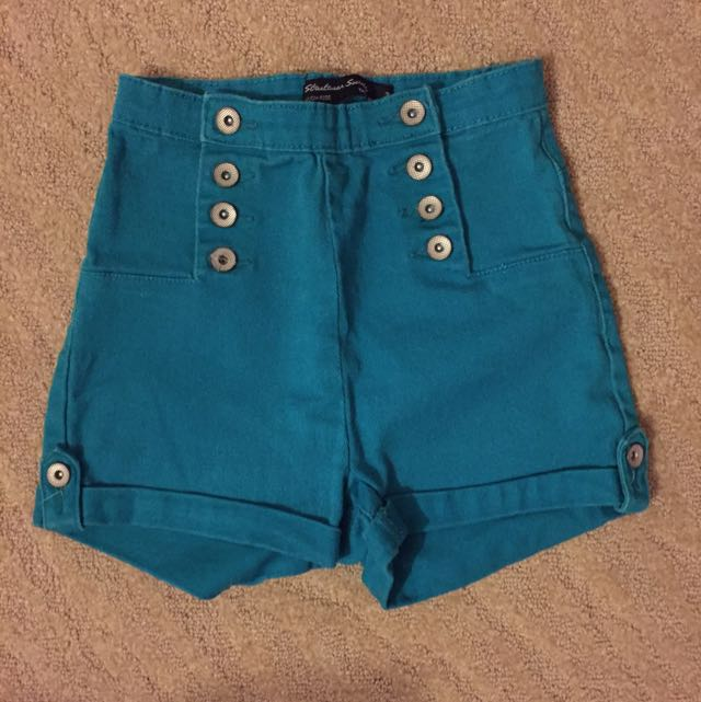 Turquoise High Waisted Shorts