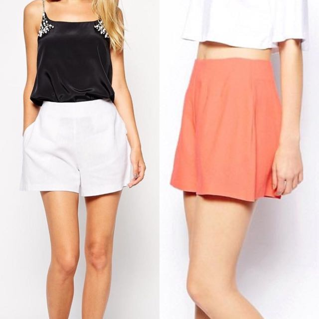 c1e29d43af4 (WHITE) ASOS High Waist Linen Shorts