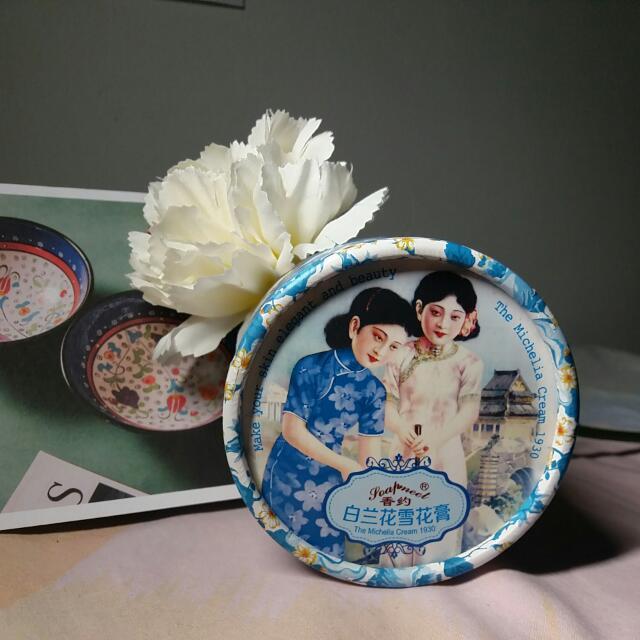 全新上海雙生花白蘭花雪花膏x1