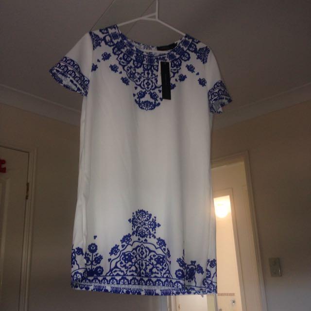Zanzea Blue And WHite Dress