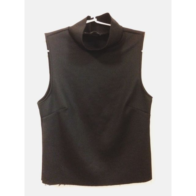 Zara Black Turtle Neck Sleeveless Top