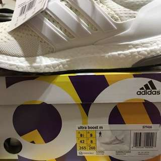 Ultra Boost White 白 Us8.5
