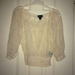 Cute Lacy Off The Shoulder Top