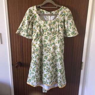 Vintage Ruffle Sleeves Dress