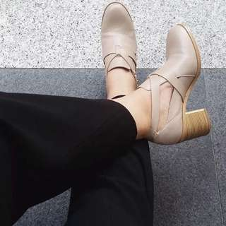 Topshop Leather Heel Boots