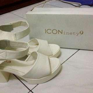 ICONinety9 White Wedges Shoes
