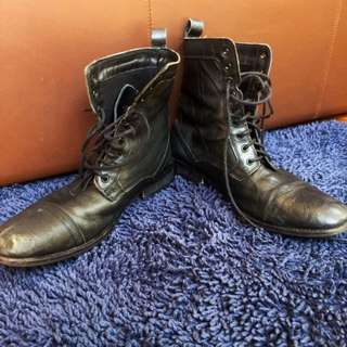 Genuine Black Leather Boots