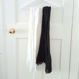 Black And White Skinny Scarves