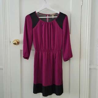 Pink/Black Silk Pleated Dress
