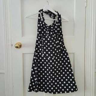 Black/White Polka Dot Halter Dress