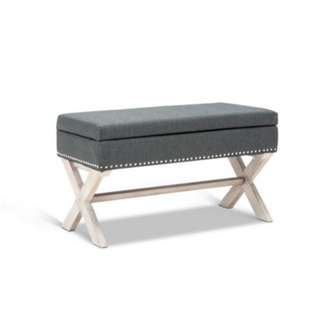 Seat Footstool Bench Stool Storage Ottoman - Grey