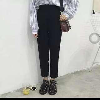 轉賣~全新淘寶團團家TUANTUAN自製款清爽面料復古鬆緊腰後跟開叉黑色西裝褲m號