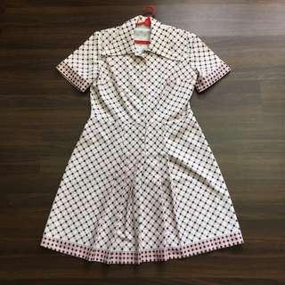 Vintage Geometric Orange Dress