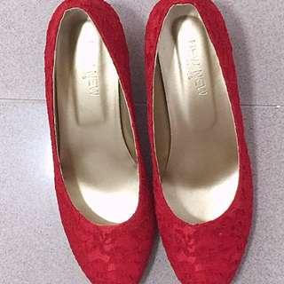紅色lace鞋