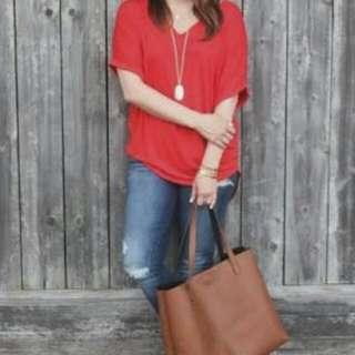 Plain T-shirt Red H&M (V-Neck)