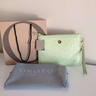 Oroton Lime Green textured Clutch