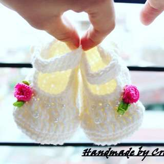 Crochet White Baby Shoes