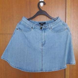 Forever 21 Denim Flare Skirt
