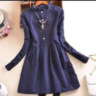 ⬇️💵all $19 Cotton Spot Long Sleeve Dress Black