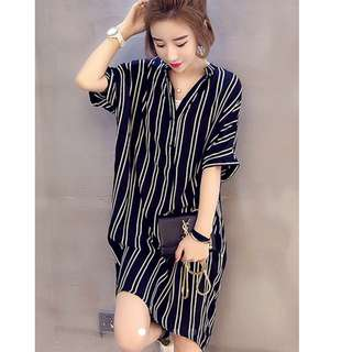 ⬇️💵all $19 Offer Korean Oversized Striped Boyfriend dress