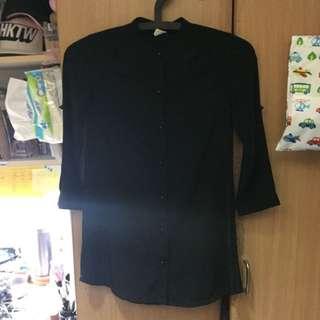 中山領 黑色 七分袖 襯衫