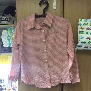 粉色格子 襯衫 粉嫩 好搭