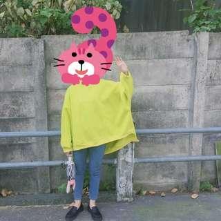 🚚 刷毛寬鬆黃綠上衣-ddddddday日日(包郵特價)